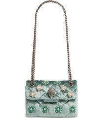 kurt geiger london mini kensington embellished velvet crossbody bag - green