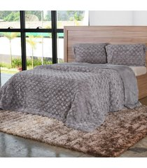 cobertor queen slim peles com porta travesseiro dove - tessi - estampado - dafiti