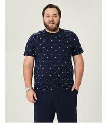 camiseta tradicional estampada malwee wee! azul escuro - p