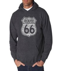 la pop art men's word art hooded sweatshirt - route 66 - life is a highway