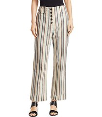 striped high-rise cotton pants