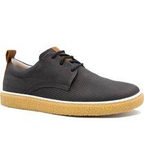 sapatênis zariff shoes casual em couro solado crepe preto
