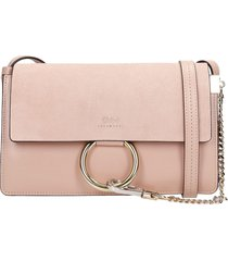 chloé faye shoulder bag in rose-pink suede and leather