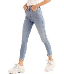 women's free people high waist crop raw hem denim leggings, size 32 - blue