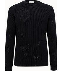 laneus maglia girocollo in cotone nero