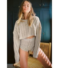 womens got cable knit sweater and shorts lounge set - oatmeal
