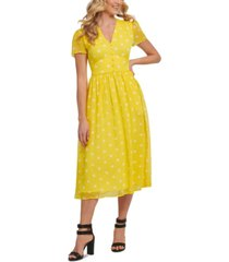 dkny dot-print midi dress