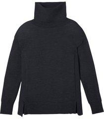 gebreide pullover van zuivere bio-wol en brede rolkraag, leisteen 44