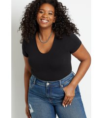 maurices plus size womens 24/7 solid basic bodysuit