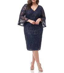 plus size women's js collections bell sleeve mesh shift dress, size 24w - blue