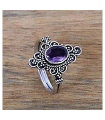 amethyst cocktail ring, 'sparkling daydream temple' (indonesia)