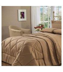 cobre leito queen plumasul soft touch 240x260cm microfibra café