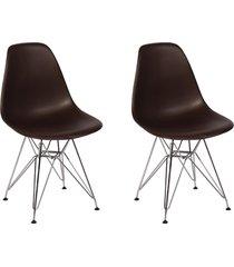 cadeira e banco de jantar impã©rio brazil charles eames eiffel base metal - incolor/marrom - dafiti