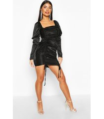 petite hammered satin volume sleeve mini dress, black