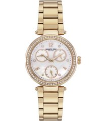 kenneth cole new york women's gold-tone stainless steel bracelet watch, 35mm