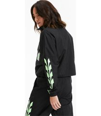 evide woven trainingsjack voor dames, zwart, maat xl | puma