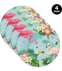 capa para sousplat mdecore flamingo  azul 4pã§s - azul - dafiti