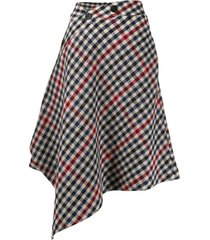 asymmetric houndstooth skirt