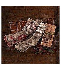 wool blend socks, 'american bison' (usa)
