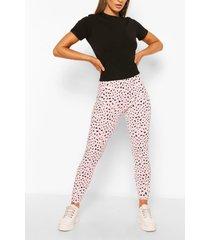 dalmatian print rib legging, pink