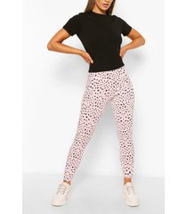 geribbelde dalmatiërprint leggings, roze