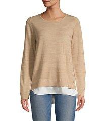 layered crewneck knit sweater