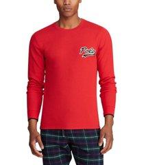 polo ralph lauren men's polo script waffle crewneck pajama shirt