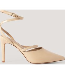 na-kd shoes spetsiga pumps med vristrem - beige