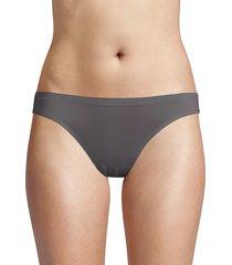 ava & aiden women's bonded edge high-cut bikini briefs - grey - size l