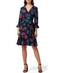 women's tahari floral long sleeve georgette faux wrap dress