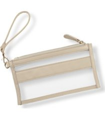 cathy's concepts vegan leather clear stadium clutch