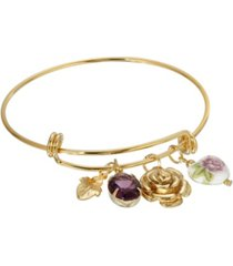 2028 women's gold tone purple oval flower heart charm bangle bracelet
