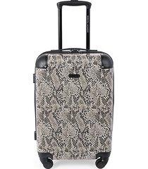 pippa 20-inch snakeskin-print suitcase