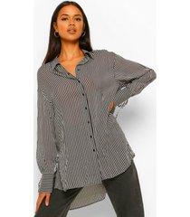 gestreepte chiffon oversized blouse, black