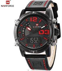 naviforce nf9095m reloj de pulsera  de cuero genuino para hombre - negro