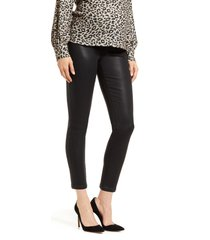 women's 7 for all mankind b(air) coated ankle skinny maternity jeans, size 28 - black
