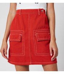 kenzo women's straight short skirt - medium orange - uk 12/eu 42