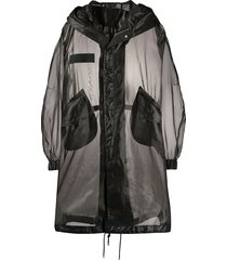 mr & mrs italy boxy fit transparent parka coat - black