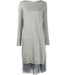 fabiana filippi pleated-detail jumper dress - grey