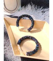 pendientes de aro redondo de diamantes de imitación