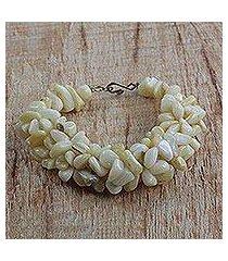 agate beaded bracelet, 'sandy shores' (ghana)