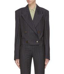 pinstripe crop peak lapel blazer