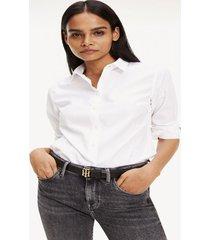 camisa entallada monograma bordado blanco tommy hilfiger
