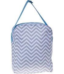 bolsa térmica  - alan pierre baby - chevron cinza com azul claro