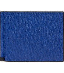 simple grip spring leather wallet - royal blue