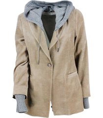 fabiana filippi single-breasted corduroy jacket with detachable wool hood in contrasting color