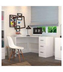 mesa escritório l 3 gavetas office plus branco lilies móveis