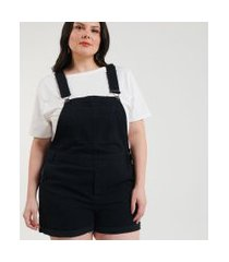 macacão curto jeans marmorizado curve & plus size | ashua curve e plus size | preto | g