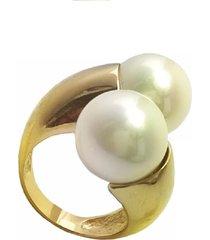 anel la madame co duas pérolas banhado a ouro 18k