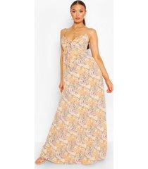 strappy maxi-jurk met sluiting aan de voorkant, perzik